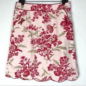 Loft scalloped hem floral skirt with pockets